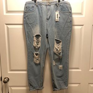 NEW BooHoo Plus Annie All Over Ripped Jeans